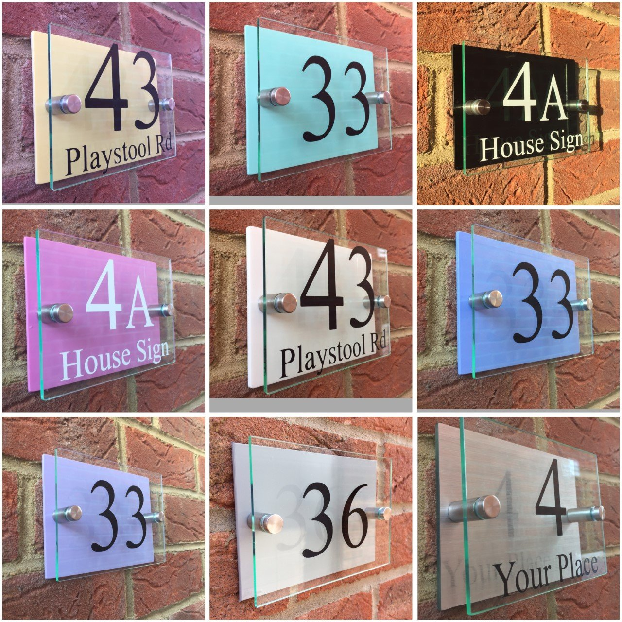 81b071cfcc9a Modern house sign door number plaque street Pastel colour backs:  Amazon.co.uk: Kitchen & Home