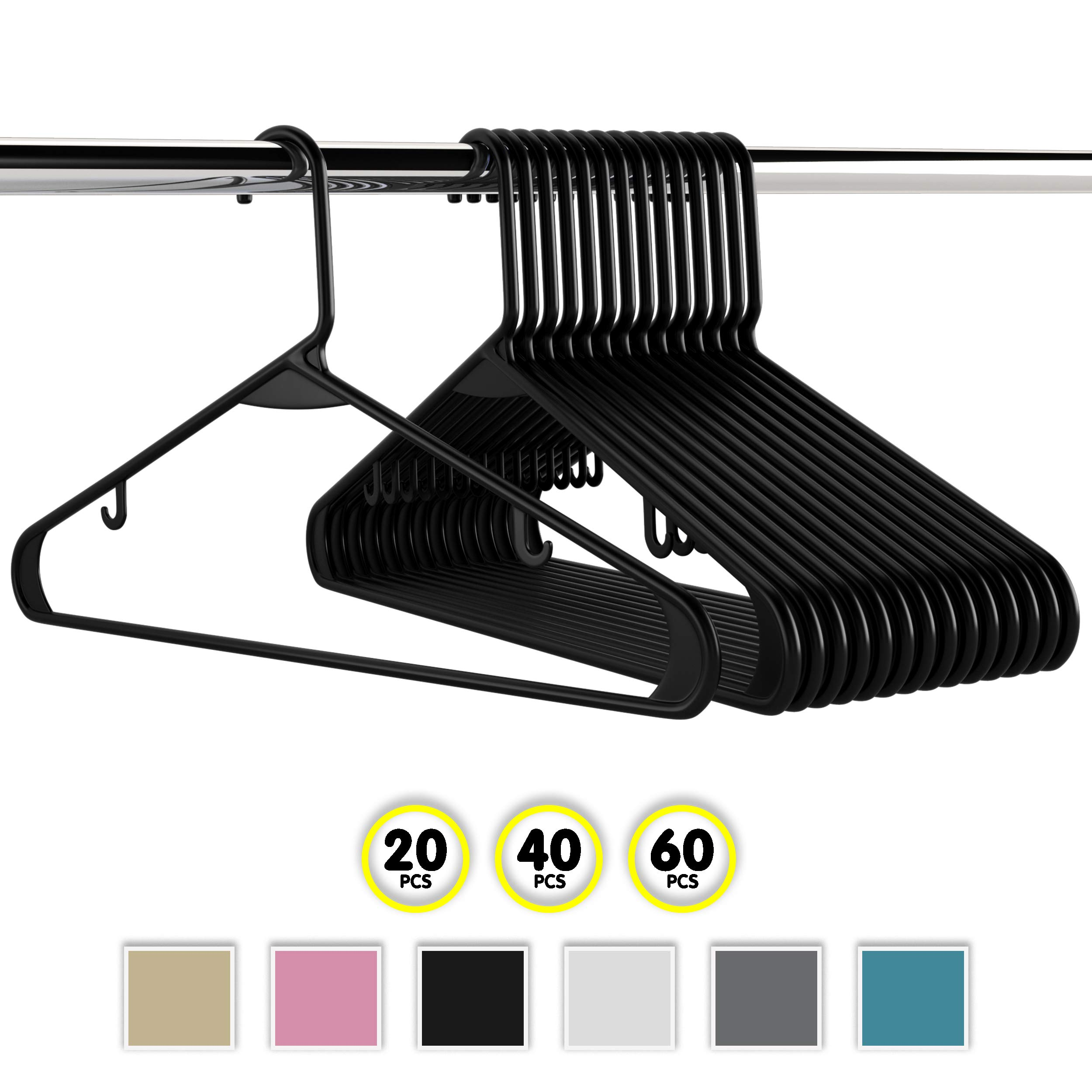 Neaterize Plastic Clothes Hangers  Heavy Duty Durable Coat and Clothes Hangers   Vibrant Colors Adult Hangers   Lightweight Space Saving Laundry Hangers   20, 40, 60 Available (20 Pack - Black)