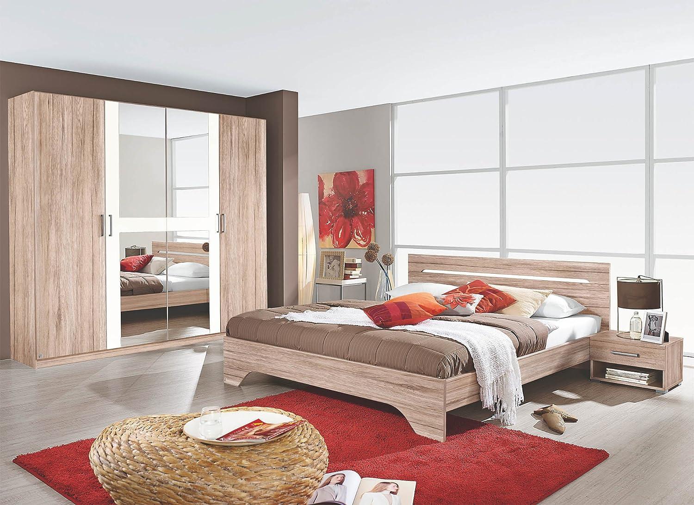 Schlafzimmer mit Bett 180 x 200 cm Eiche Sanremo hell/ alpinweiss