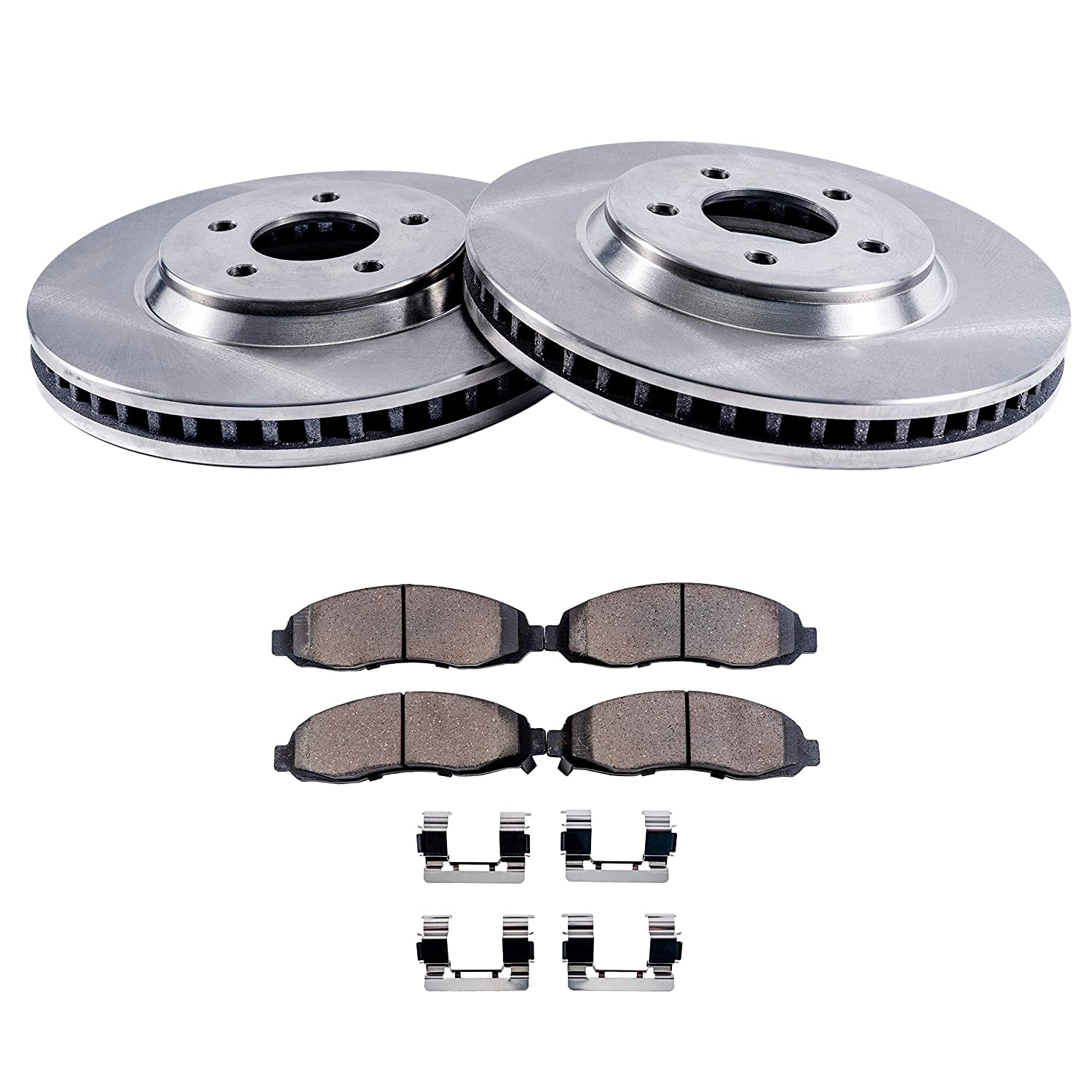 Detroit Axle - Complete Front Brake Rotor Set & Brake Pads w/Clips Hardware Kit Premium GRADE for 2008-2010 Chrysler Town & Country - [2008-2010 Dodge Grand Caravan/Journey] - 2009-2010 VW Routan