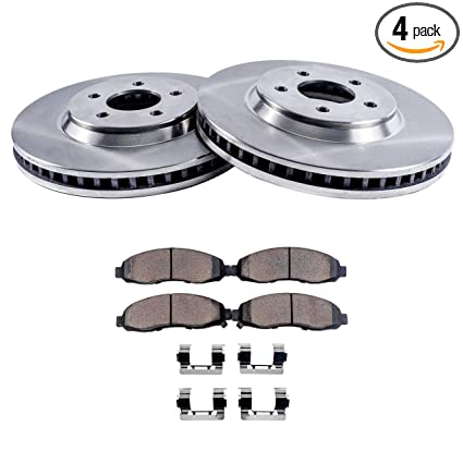 Detroit Axle - Front Disc Brake Rotors & Ceramic Pads w/Clips Hardware Kit for