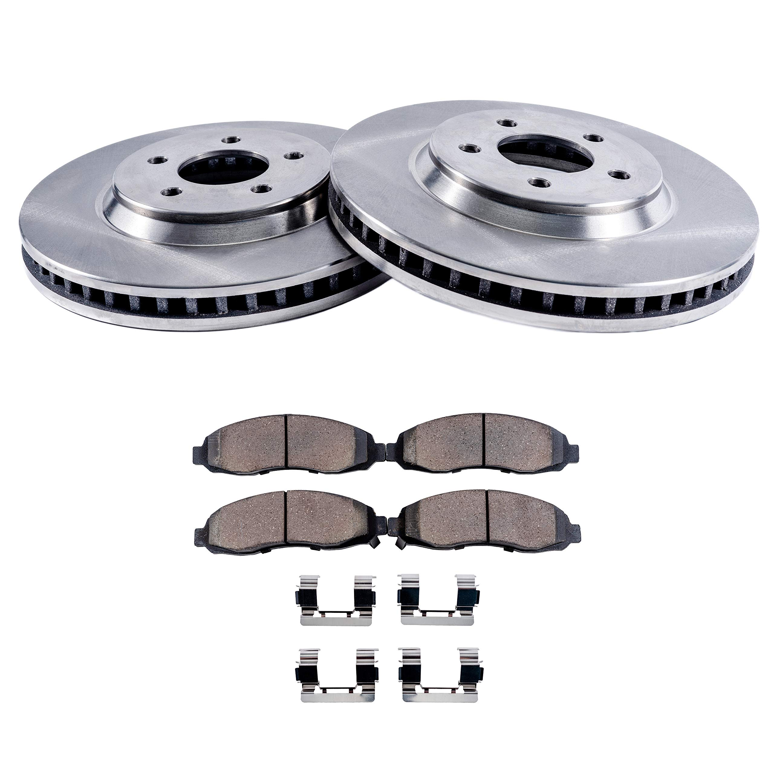 Detroit Axle - Front Disc Brake Rotors & Ceramic Pads w/Clips Hardware Kit for 09-14 Ford Flex Standard Brakes - [11-13 Explorer No Police ] - 10-14 Taurus No Turbo - 10-14 MKT Standard Brakes
