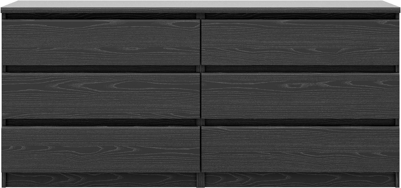 Tvilum Scottsdale 6 Drawer Double Dresser Black Wood Grain