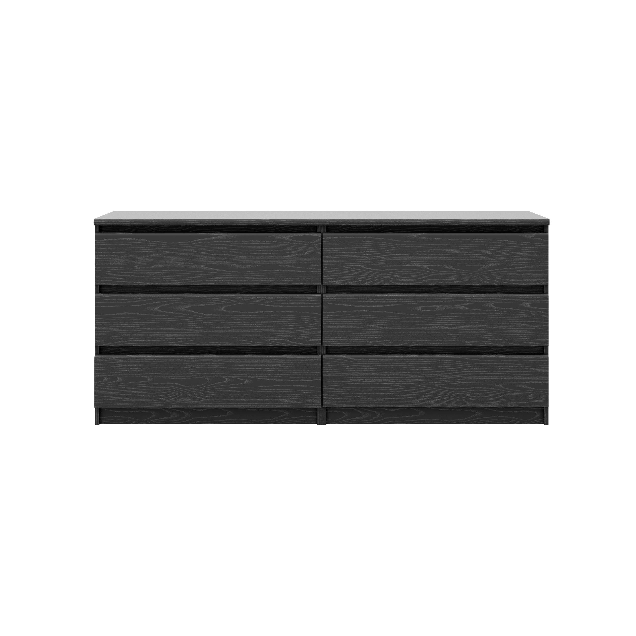 Tvilum Scottsdale 6 Drawer Double Dresser in Black Woodgrain by Tvilum