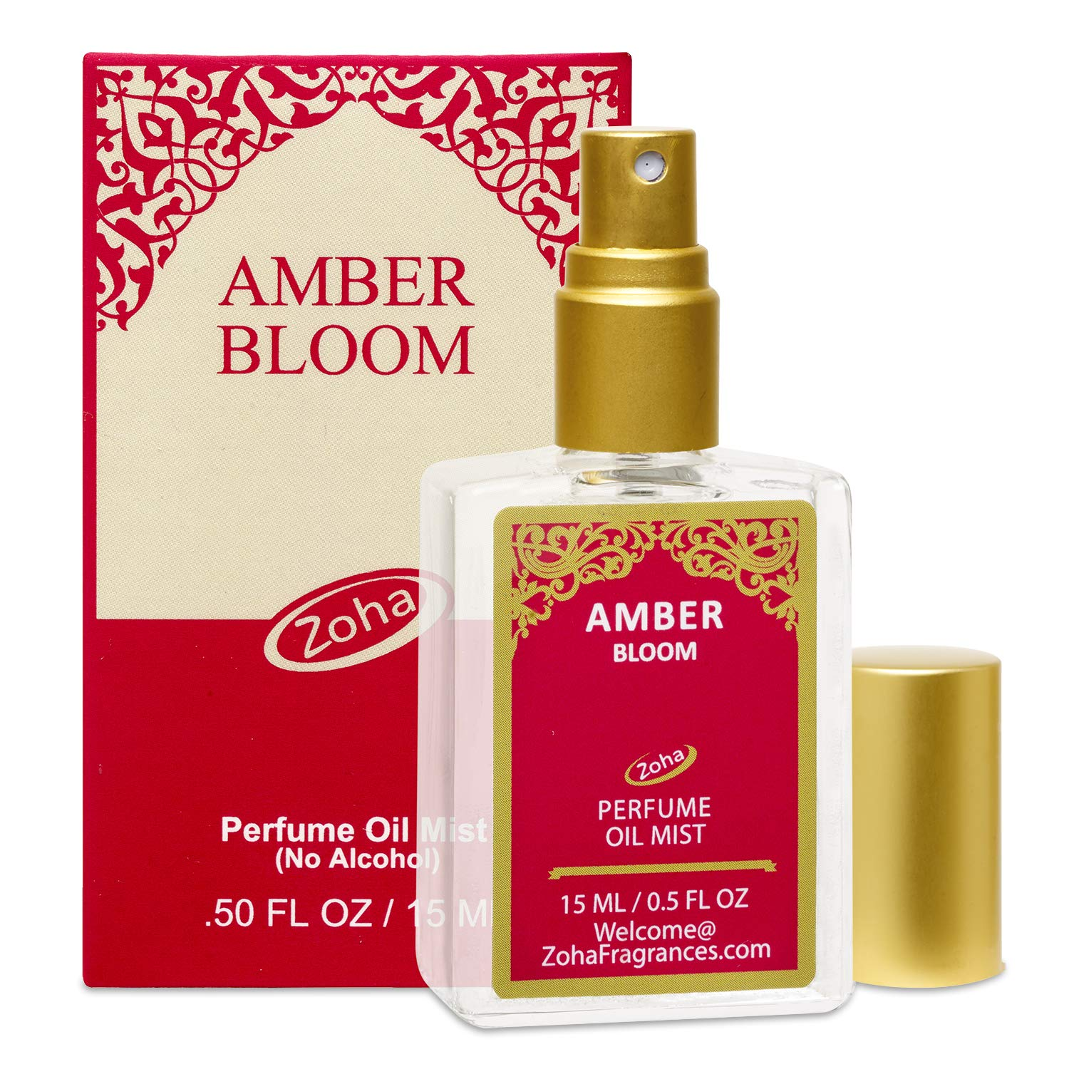 Amber Bloom Perfume Oil Mist (No Alcohol) Amber Oil Fragrance - Essential Oils and Perfumes for Women and Men by Zoha Fragrances, 15 ml / 0.50 fl Oz by Zoha