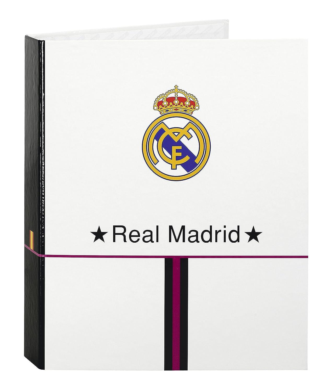 Safta SF-511457657 - Carpeta carton folio 4 anillas lomo ancho, diseño Real Madrid: Amazon.es: Oficina y papelería