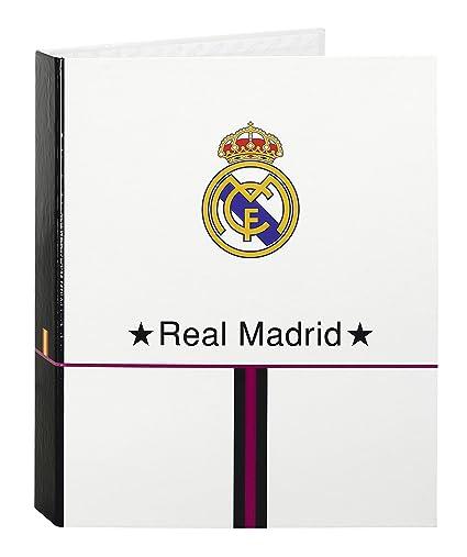 Safta SF-511457657 - Carpeta carton folio 4 anillas lomo ancho, diseño Real Madrid