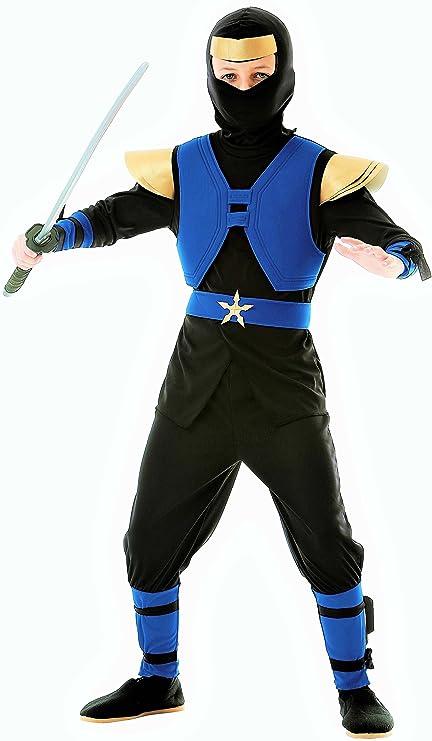 Disfraz infantil completo de ninja real, color azul, negro y ...