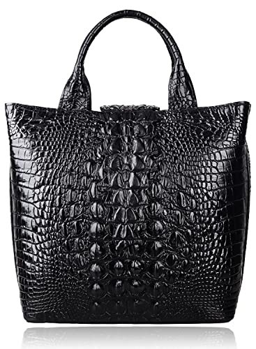 19a9ea2ca7e9 Amazon.com  PIJUSHI Top Handle Satchel Handbags Crocodile Bag Designer Purse  Leather Tote Bags (6061 Black)  Shoes