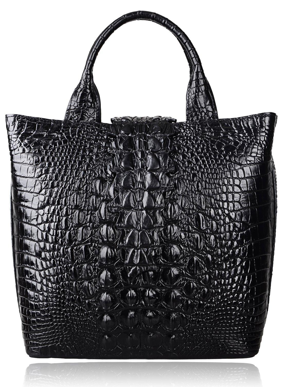 Pijushi Embossed Crocodile Leather Tote Top Handle Handbags 6061 (One Size, Black)