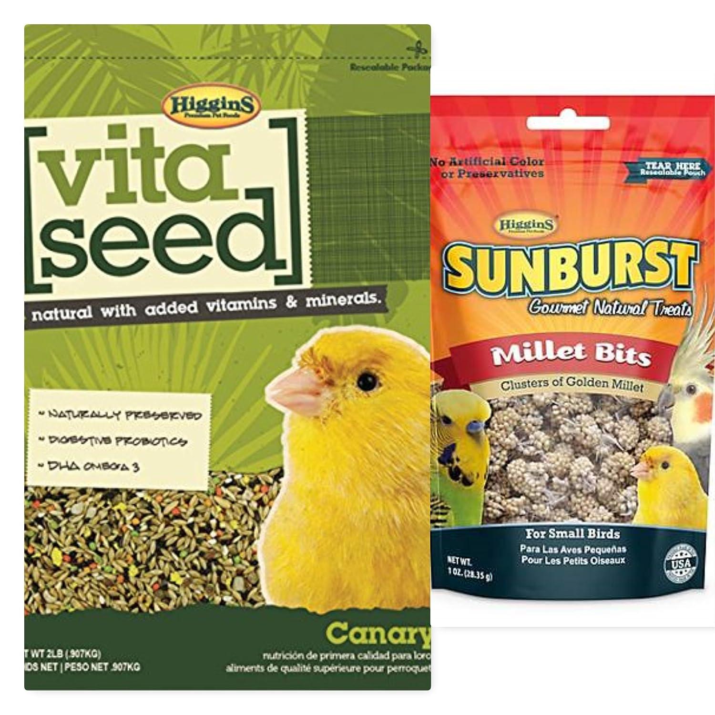 Higgins Vita Seed Canary Bird Food 2 Lb. Bag, Plus A 1 Oz Millet Bites Bird Treat.