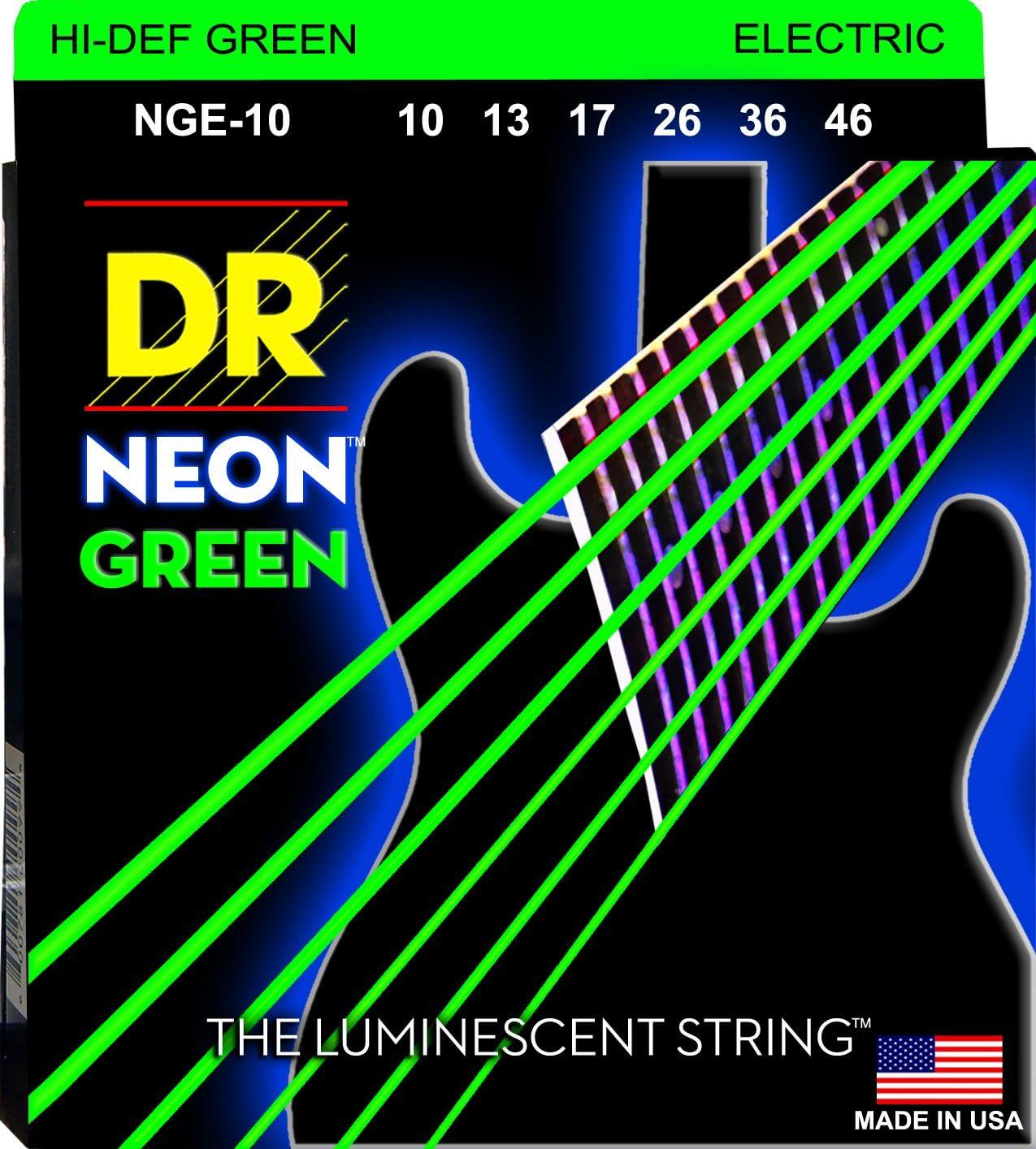 DR String NGE-10 Neon Green Juego Cuerdas Eléctrica