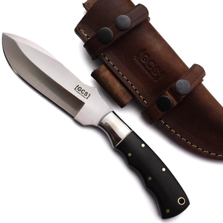 GCSカスタムハンドメイドd2-tool-steel LargeブラックMicartaスキニングブレードナイフBuffalo Hide Sheath 136 B01M186PDQ