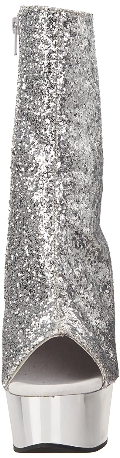 Pleaser Women's Delight-1018 Boot B00ADIR8LI 12 B(M) US|Silver Glitter/Silver Chrome