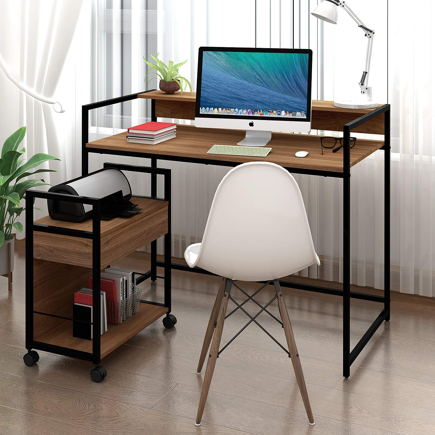 WLIVE Mobile Printer Stand, Office Serving Cart, Computer Side Table Machine Cart Stand with Storage Drawer for Home Office by WLIVE (Image #2)