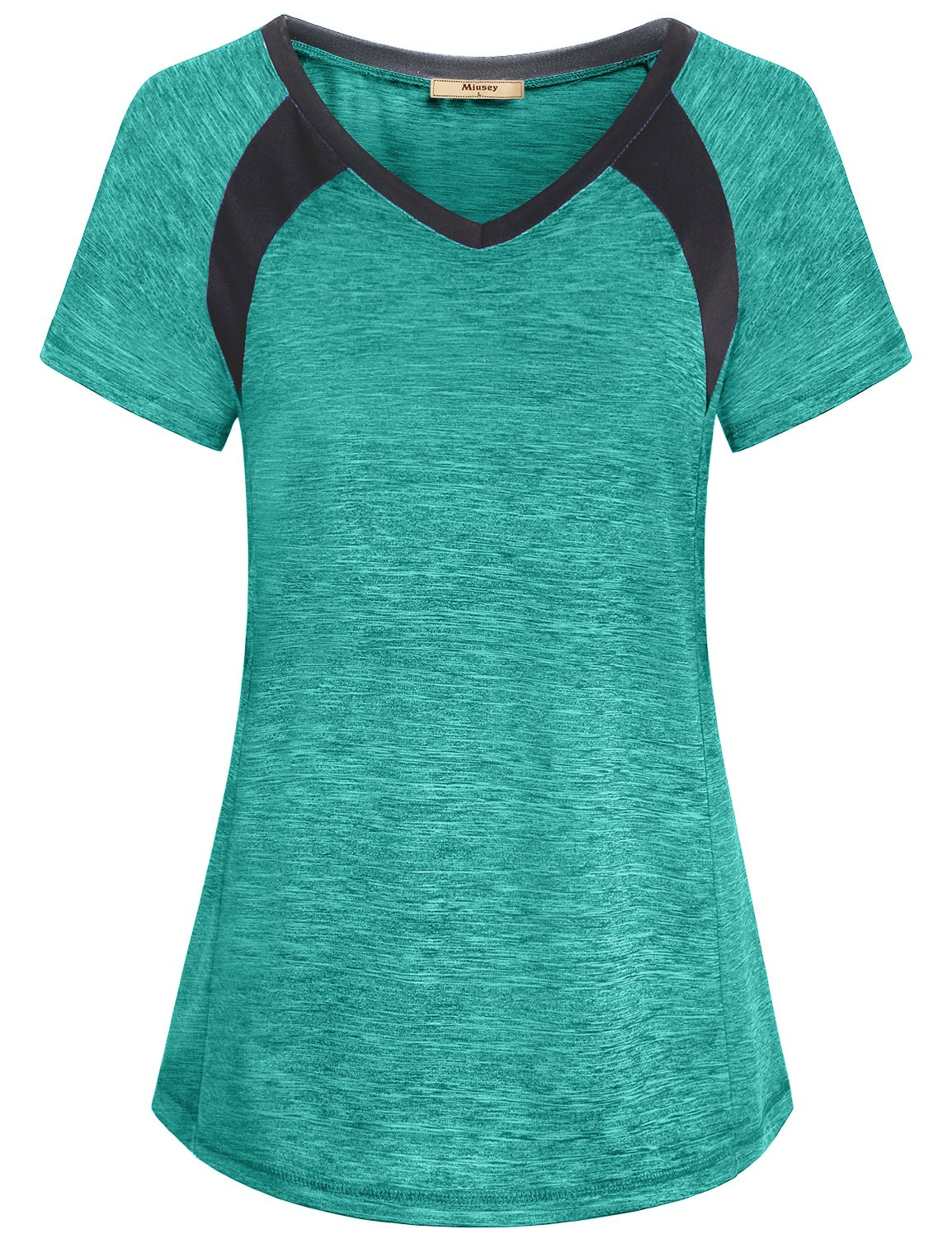 Miusey Exercise Tops for Women, Girls Dry Fit Shirts Short Sleeve Raglan Althetic Wear V Neck Chic Elastic Smooth Running Tunic Activewear Workout Fitness Tees Green M