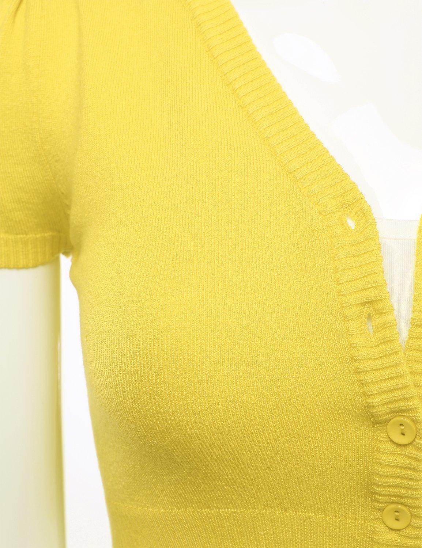 82d65c2e4704ec FLORIA Womens Button Down Short Sleeve Cropped Bolero Cardigan Sweater  (S-4X) < Shrugs < Clothing, Shoes & Jewelry - tibs