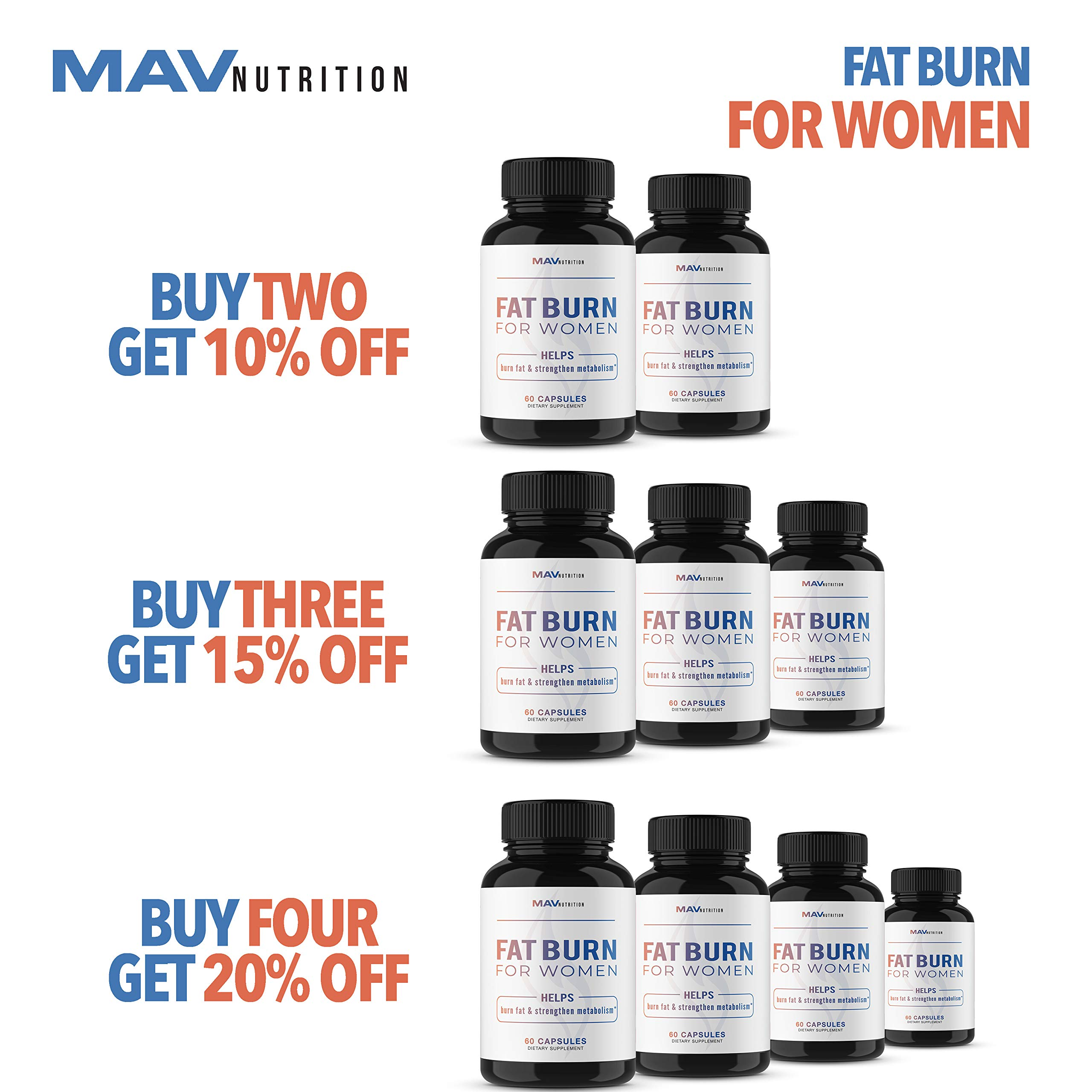 Womens Fat Burner Weight Loss Pills Designed for Increasing Healthy Metabolism, Supporting Energy Levels, Fat Loss, and Increasing Tone; Non-GMO, Gelatin-Free; 60 Vegetarian Capsules for Women by MAV NUTRITION (Image #5)