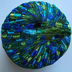 Berlini Ladder Ribbon Maxi Yarn #84 Caribbean (Blue Turquoise Teal Green) - 50 Gram 98 Yards