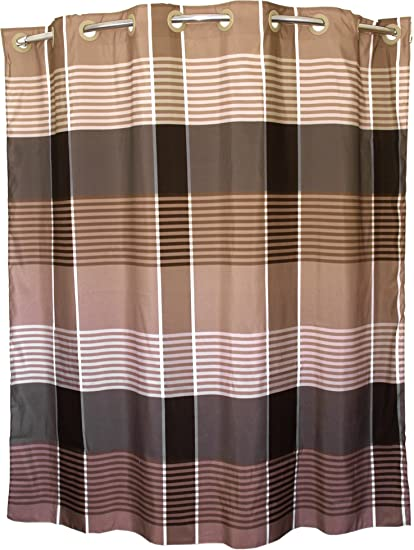 Amazon.com: BigKitchen Brown Plaid Hookless Polyester Shower Curtain ...