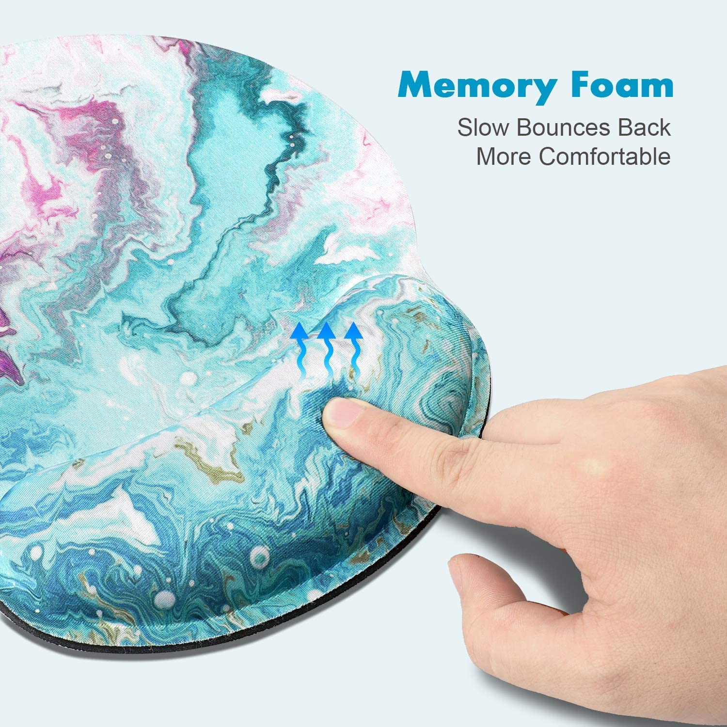 MB-002 Gaming Office Laptop HILUCKI Mouse Pad Ergonomic Mouse Mat with Wrist Support Rest Memory Foam Computer Mouse Pad with Nonslip Rubber Base for Home