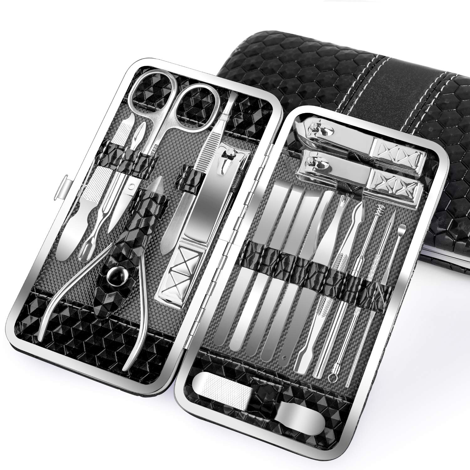 Nail Clippers Set 18PCS Manicure Set Manicure & Pedicure Tools Professional Nails Includes Scissor Tweezer Knife Ear Pick Cuticle Remover Tools - Nail Care Tools with Travel Case (black) : Beauty