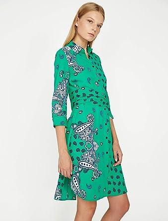943c47312cc85 Desenli Elbise Yeşil 36: Amazon.com.tr: KOTON