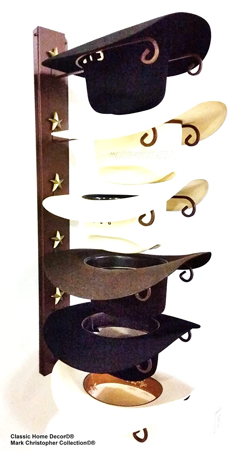 Mark Christopher Collection American Made Cowboy Hat Holder Star 886 6 Tier Hat Rack Classic Home Decor 886 STAR CT