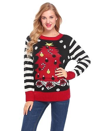 69268107b68f UNibelle Juniors' Xmas Tree Tunic Pullover Ugly Christmas Sweater (Black,  ...