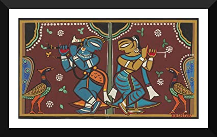 565e23dbe Indian Art Painting Collection - Jamini Roy - Krishna and Radha Dancing -  Premium Quality Framed