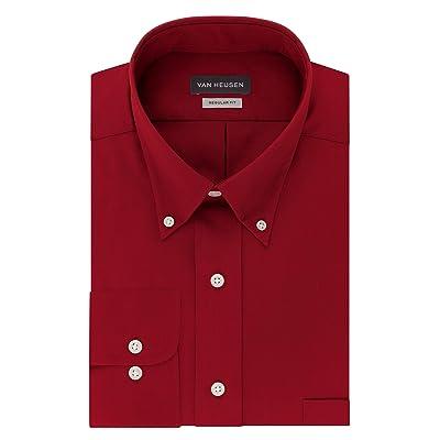 Van Heusen Mens Dress Shirts Regular Fit Twill Solid Button Down Collar at Men's Clothing store