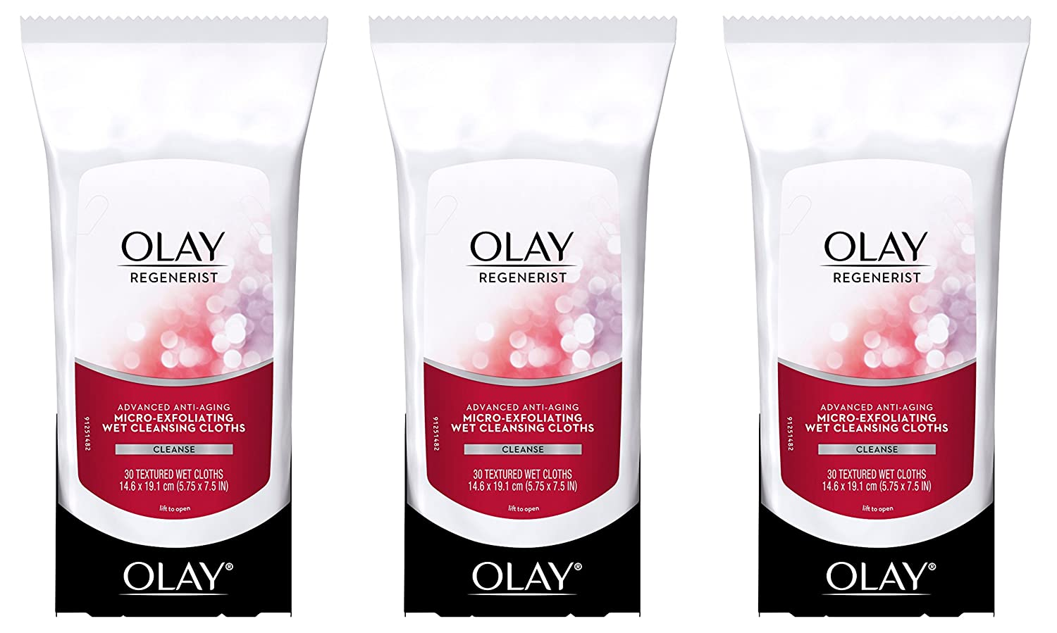 Olay Regenerist Micro-Exfoliating Wet Cleansing Cloths 30 Count (Pack of 3) Packaging may Vary P&G NA