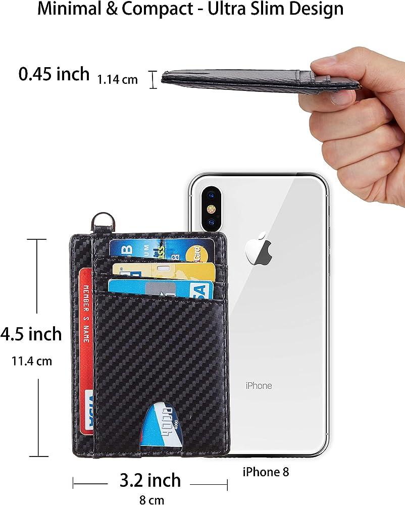 Nappa Black Casmonal Slim Minimalist Front Pocket Wallets RFID Blocking Credit Card Holder for Men /& Women