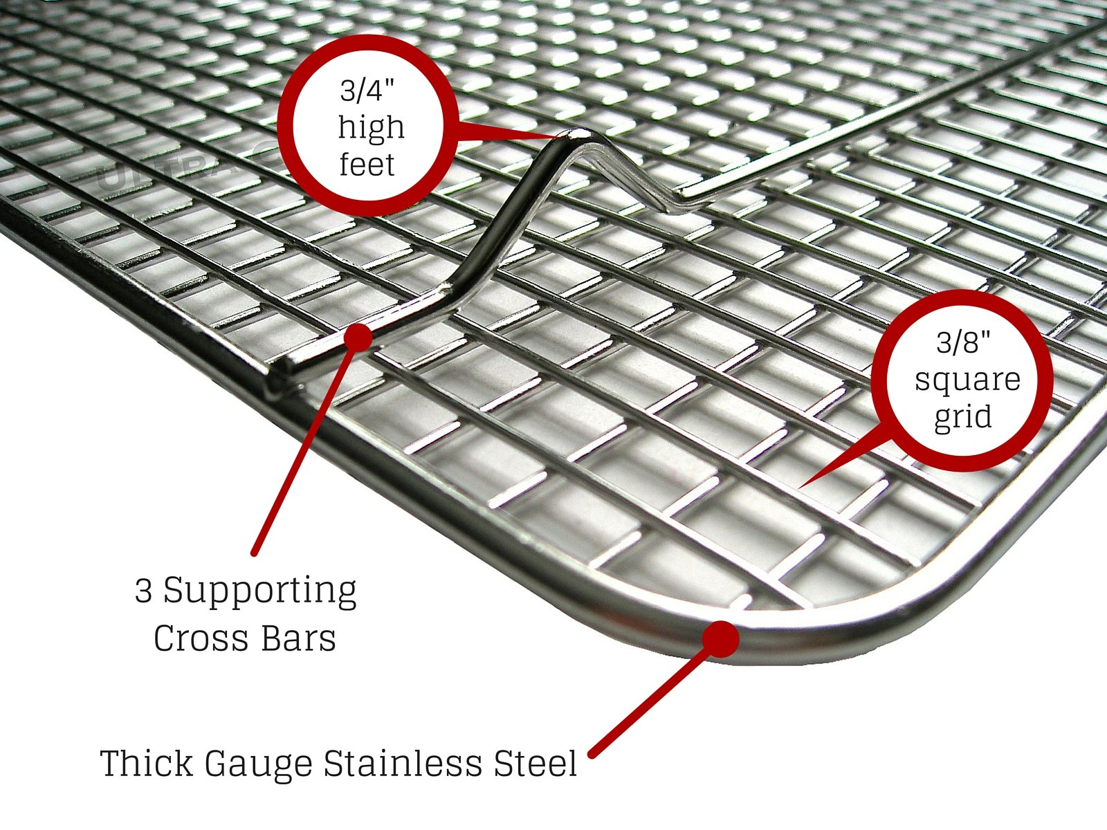 """Cooling, Baking & Roasting Wire Racks for Sheet Pans - 100% Stainless Steel Metal Racks for Cooking - Dishwasher Safe, Rust Resistant, Heavy Duty 3 COMMERCIAL GRADE 304 (18/8) STAINLESS STEEL COOLING RACK offers superior rust resistance and long-lasting quality FITS LARGE 13""""x18"""" BAKING & COOKIE SHEETS perfectly inside the food pan HEAVY DUTY WIRE GRID WITH 3 SUPPORT CROSS BARS create a raised design for best air circulation"""