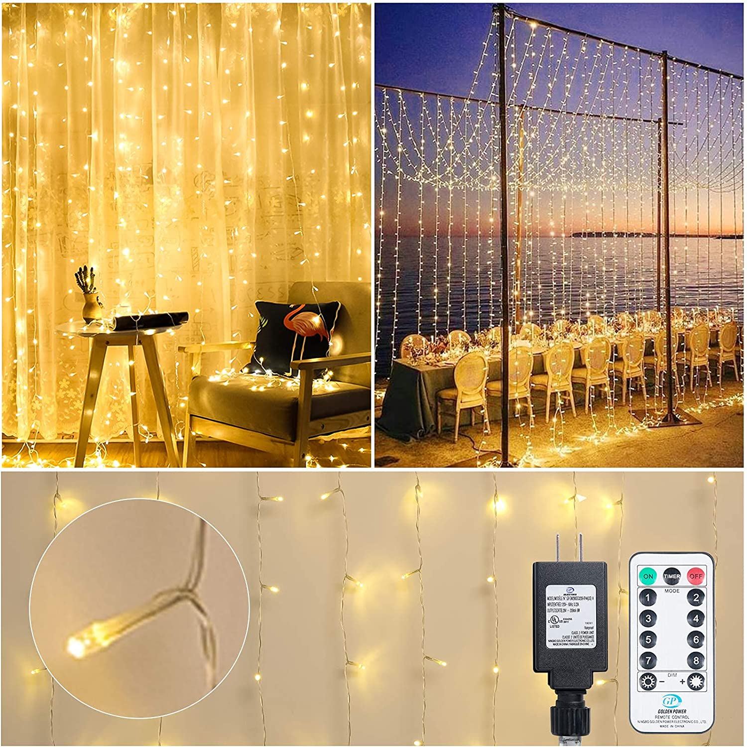 Curtain Lights 300 LED 9.8 x 9.8 Feet Fairy String 8 Modes Dimmable Timer with Remote Connectable Bedroom Wall Decor Window Indoor Bathroom Dorm Room Party Wedding Hanging Twinkle Lights Warm White