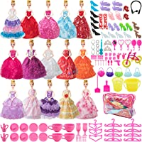 SOTOGO 121 Pieces Doll Clothes and Accessories for 11.5 Inch Girl Doll Different Occasions Include 15 Pieces Handmade Doll Grown Outfits Fashion Party Dresses and 106 Pieces Different Doll Accessories