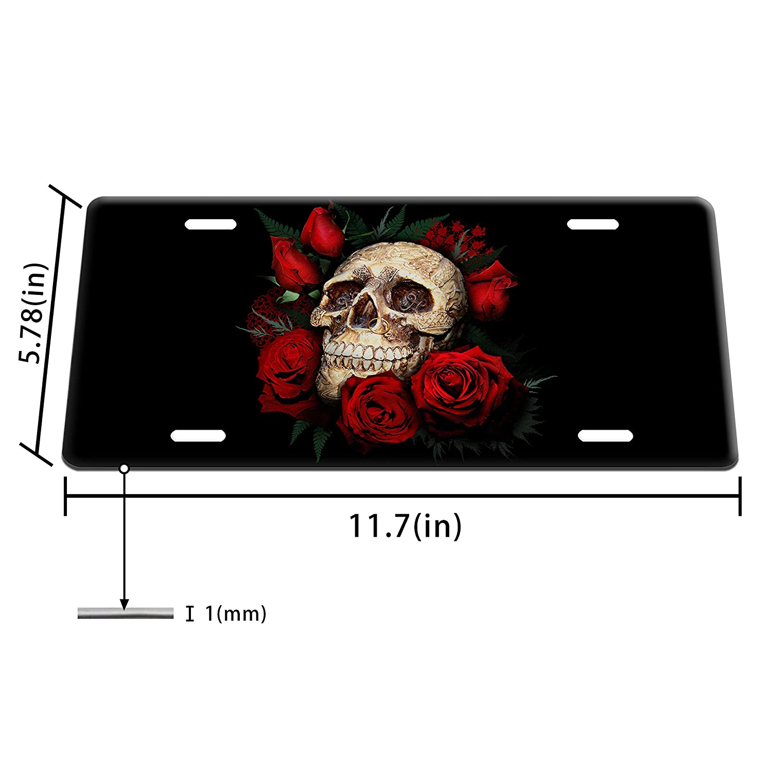 Dang Xin Skull and Roses Metal License Plate 12/×6 inches