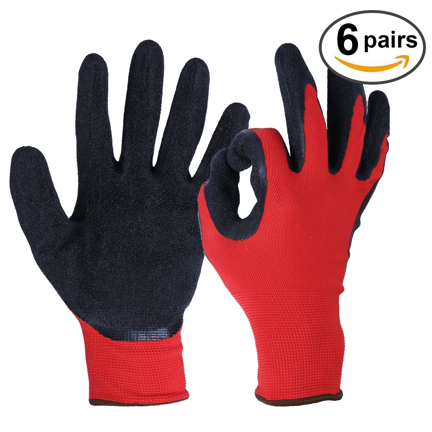 OZERO Working Gloves, Rubber Work Glove with Stretchy Nylon Shell for Fishing/Gardening/Yard/Farm/Household/Warehouse/Repairment - Ultimate Grip & Light Weight for Men & Women - 6 pairs Pack (Large)