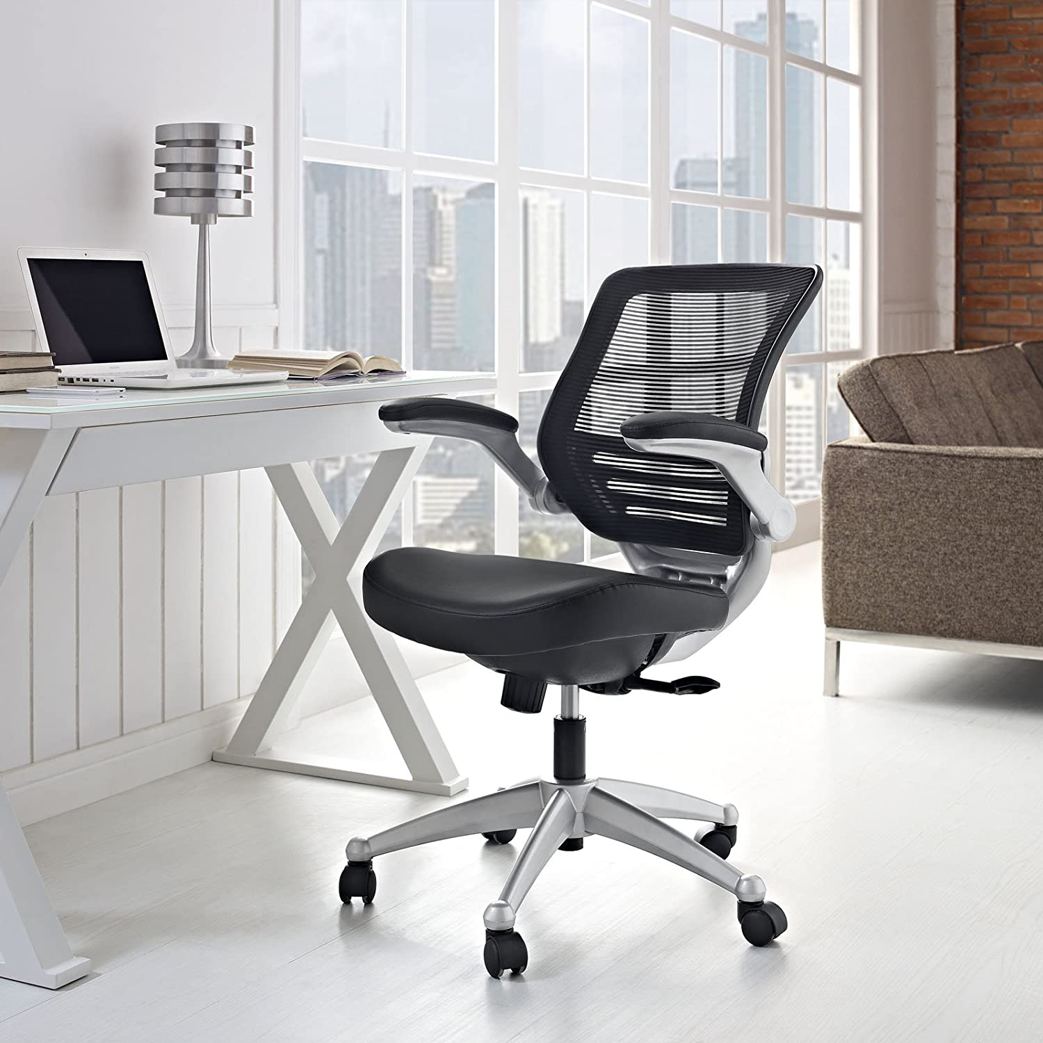 Modway Edge Mesh Back and Leather Seat Office Chair In Black With Flip-Up Arms - Perfect For Computer Desks