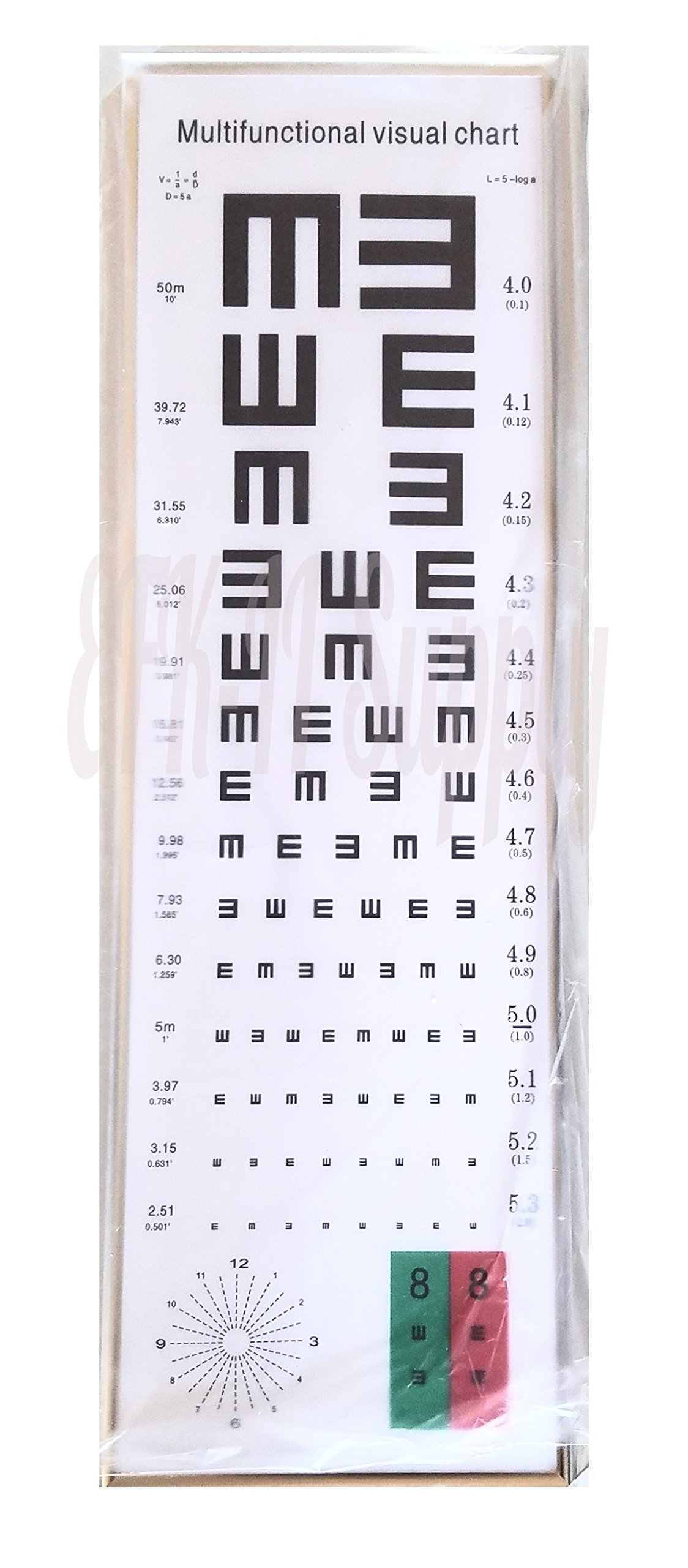 EFK-II Supply 16 Feet Standard Logarithmic Visual Acuity Chart LED Light Box Astigmatism Chart