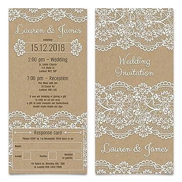 60 x wedding invitation cards tickets lace kraft paper look with 60 x wedding invitation cards tickets lace kraft paper look with rsvp tear off stopboris Gallery