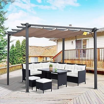 Outsunny Pérgola de Aluminio Gazebo Cenador 3x3m para Jardín Patio o Terraza con Techo Retráctil Tela Poliéster Resistente a Agua y UV: Amazon.es: Jardín
