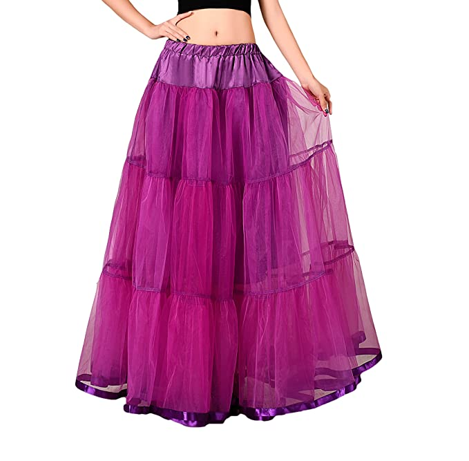 Bridal _ Mall Wedding Bridal suelo largo Petticoat maduro Rock enagua Fancy 50s Vintage vestido morado