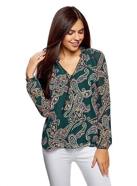 oodji Ultra Mujer Blusa Estampada con Cadenas, Verde, ES 36 / XS