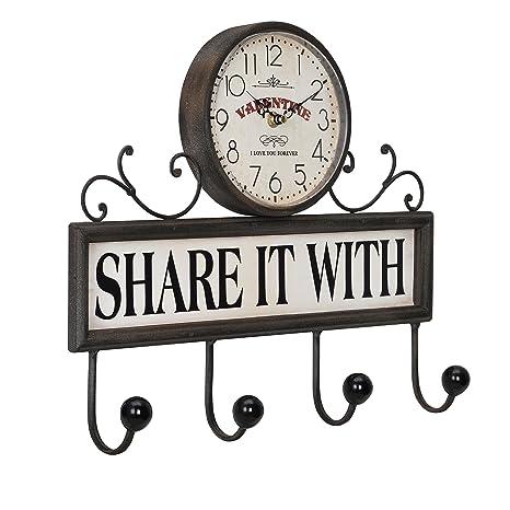 c063276fc698  en.casa ® Reloj de pared decorativo con perchero - ganchos para colgar