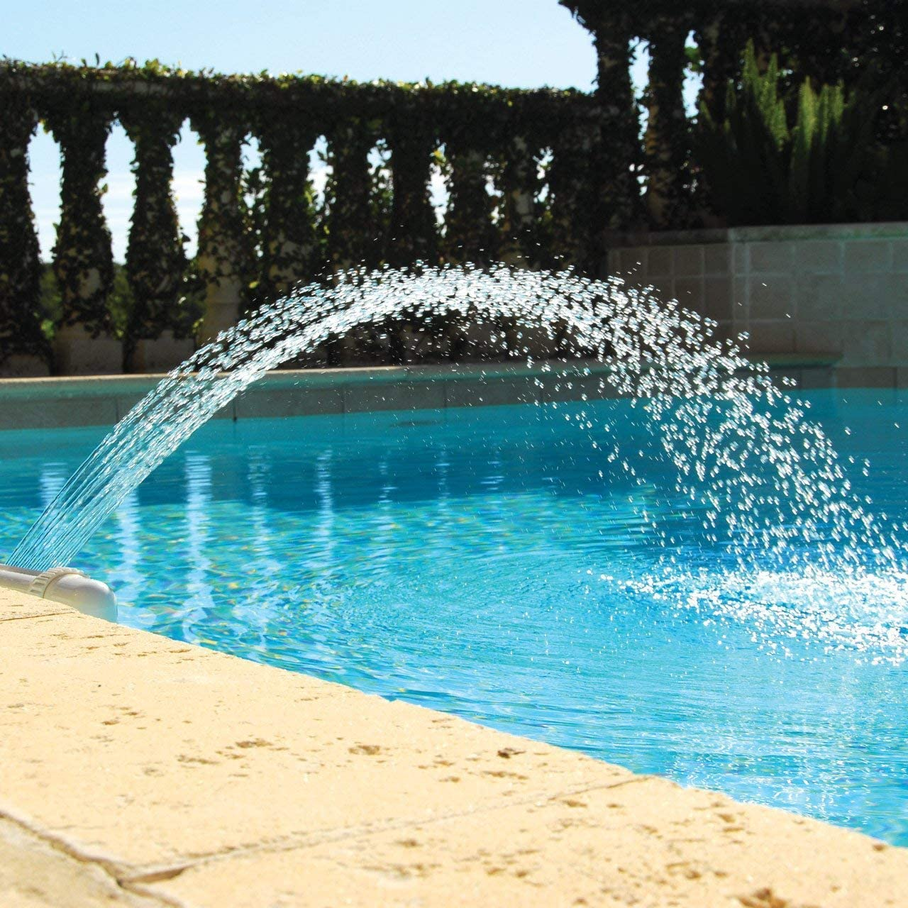 "Waterfall Pool Fountain Spray Water Adjustable Fun Sprinklers Pool Decor, Fits Most 1.5"" InGround & Above Ground Threaded Return Jets"