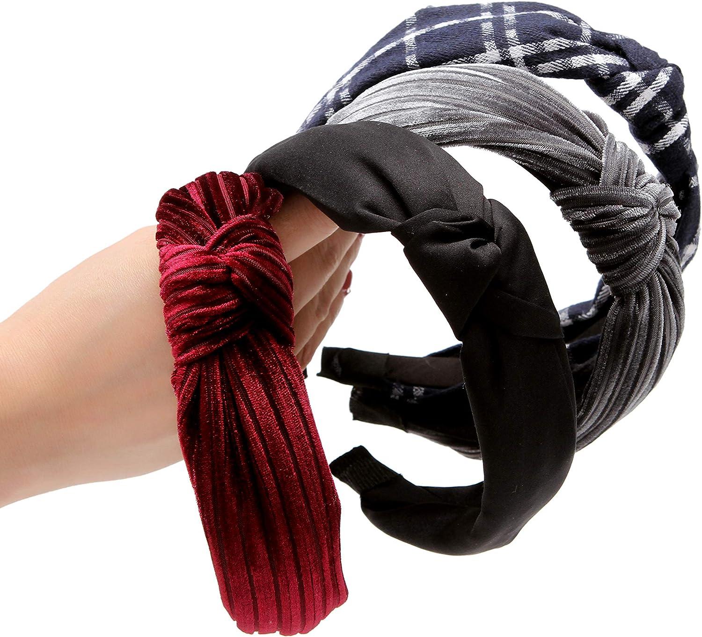 Sea Team New Fashion Elastico ampia fasce con accessorio multicolore a nodo contorto per donne e ragazze 4 confezioni