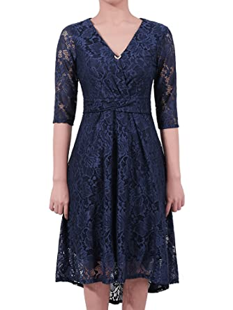 KT-SUPPLY Women 1950s Vintage Style Retro Floral Lace Dress with 3/4 Long Sleeve Deep V Neck High-Low Hip Irregular Party Cocktail Flared Swing Dress with ...