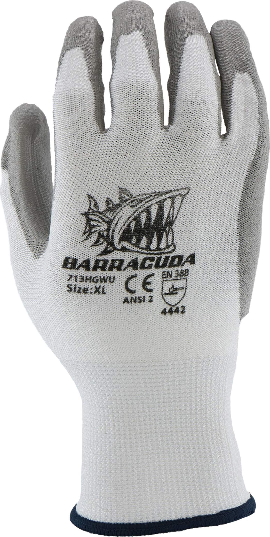 West Chester 713HGWU XL Barracuda White HPPE Shell with Grey PU Dip Cut Protection Gloves, XL (Pack of 12) by West Chester (Image #3)