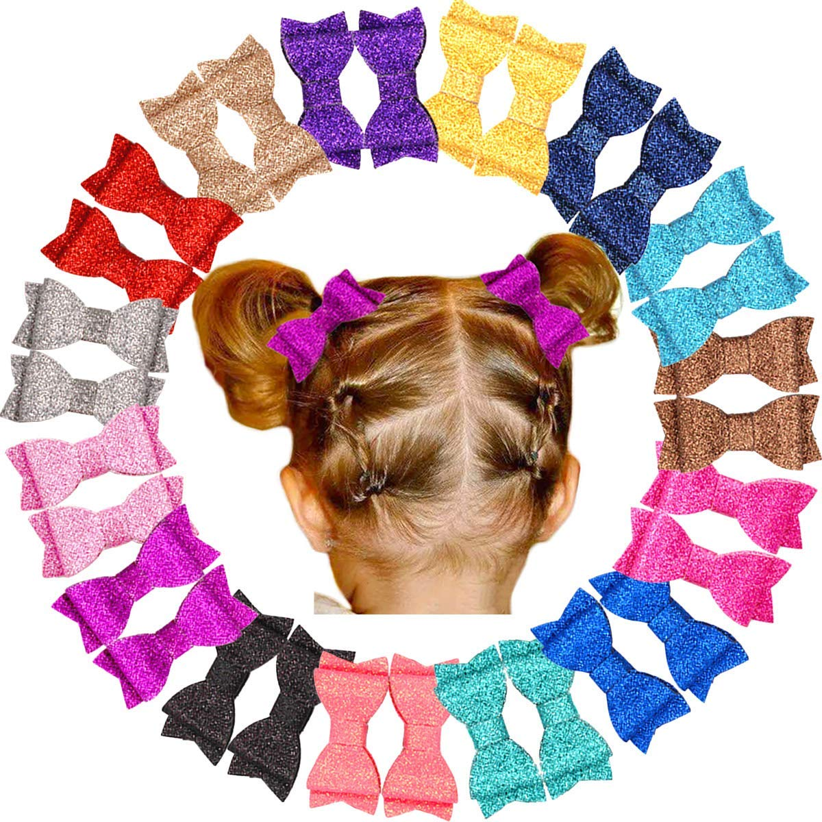 """30Pcs Glitter Sparkle Bows for Girls Pigtail 2.75"""" Hair Bows Fully lined Alligator Clips for Baby Girls Toddlers and Kids (15 Colors in Pairs)"""